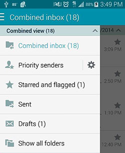 A screen capture of an email account's folders that shows the number of unread emails.