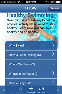 Screencapture of the CDC HTSW healthy swimming app