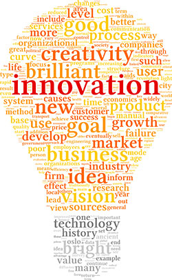 A graphic for innovation and technology concepts in a tag cloud in the shape of a light bulb