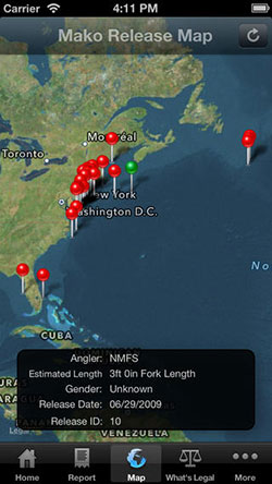 an iPhone screen capture of the National Oceanic and Atmospheric Administration's Release Mako app