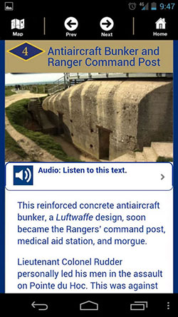 250 x 445 ABMC American Battle Monument Commission app info with audio option