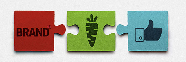 Puzzle pieces show a good brand can dangle a carrot (something they know that the customer wants), leading to a social media thumbs up or Like.