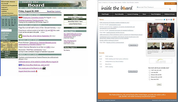 The image on the left shows a screen capture of the old website with task completion at 58 percent. The image on the right shows the new website with task completion at 90 percent.