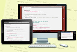 Code is shown on multiple devices.