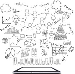 Strategy sketches above a mobile tablet