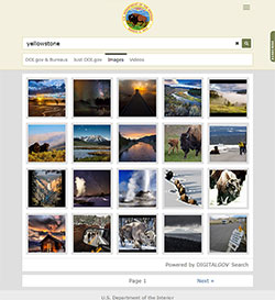 A screen capture of the Department of the Interior's image search results