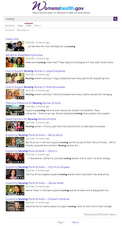 A screen capture of Womens Health dot Gov's video search results.