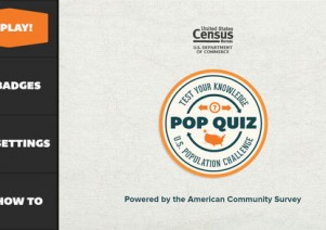 Start screen of Census App Pop Quiz