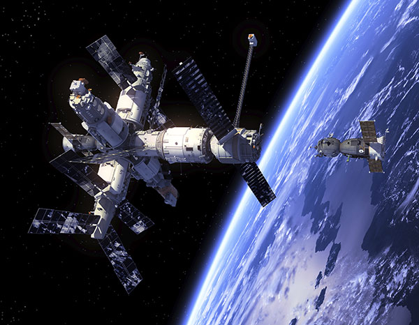 Spacecraft Soyuz and Space Station