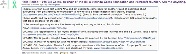 A screen capture of Bill Gates' Ask Me Anything (or A M A) on Reddit.