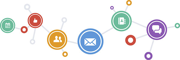 social media and business connection icons