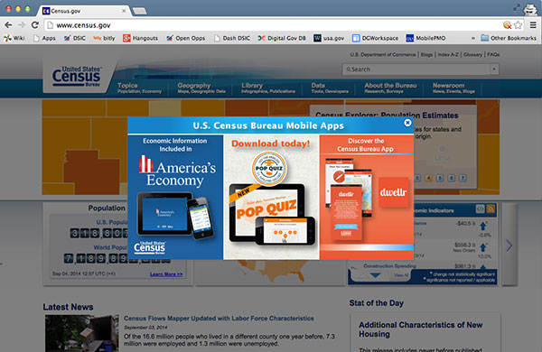 A screen capture of Census dot gov with an overlay displaying 3 of their mobile apps.
