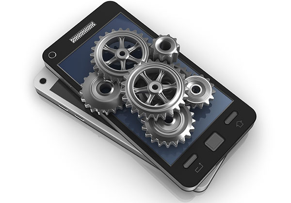Mobile phone and gears; application development concept
