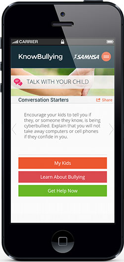 The Know Bullying iPhone app from the StopBullying.gov team at the Substance Abuse and Mental Health Administration (SAMHSA)