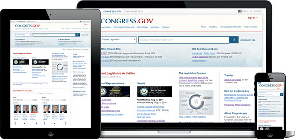 The new Congress.gov responsive design website as seen on an iPad