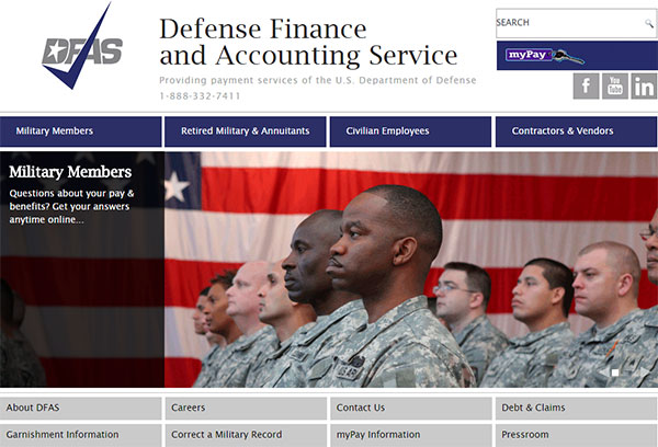 The DFAS.mil responsive website as seen on a laptop monitor