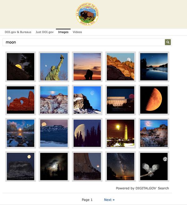 DOI.gov DigitalGov Search on the word moon.