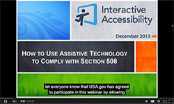 A screen capture of our webinar, How to Use Assistive Technology to Comply with Section 508, as seen on YouTube with the subtitles turned on.