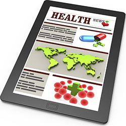 Graphic of health news content displayed on a tablet.