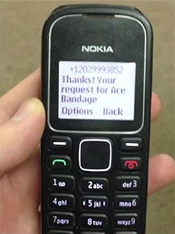 Peace Corps' PC Medlink SMS text response on a Nokia cell phone