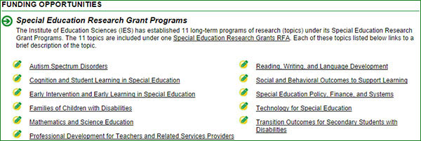 Example of Landing Page for specific request for applications (Special Education Research 84.324A)