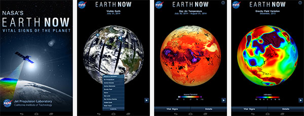 4 screens from the Android version of NASA's Earth Now app