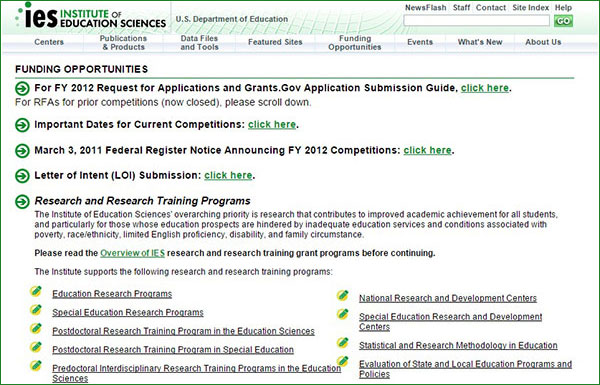 Original 2011 IES.ED.GOV/Funding page