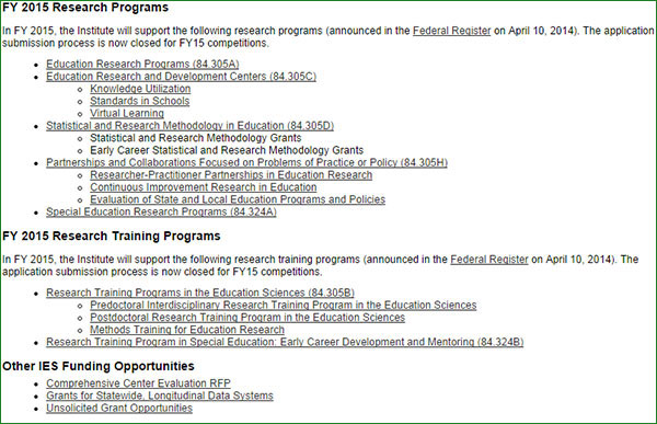 List of Current FY15 Funding Opportunities on IES.ED.GOV/Funding