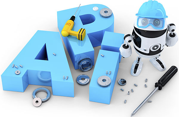 Robot with tools and application programming interface sign. Technology concept.