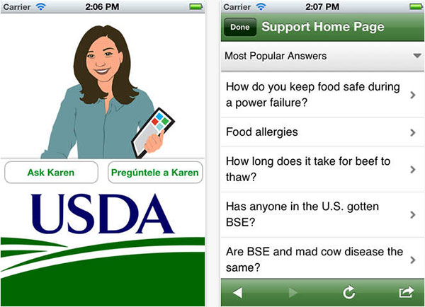 The iPhone app for Ask Karen