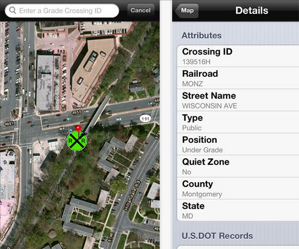 Department of Transportation Rail Crossing App Screenshots