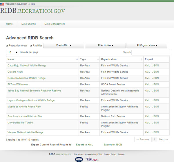 Recreation Information Database results for Puerto Rico