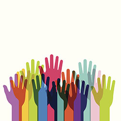 Multi-colored hands reach upward as if volunteering for something or to indicate each person is present