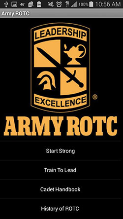Army ROTC Android app home screen