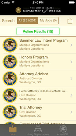 Department of Justice Law Jobs iPhone app search results screen