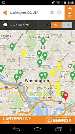 Department of Energy's LanternLive app displays DC Gas Stations on an Android phone