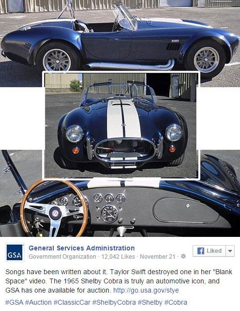 496 x 642 GSA auction tweet for 1965 Shelby Cobra