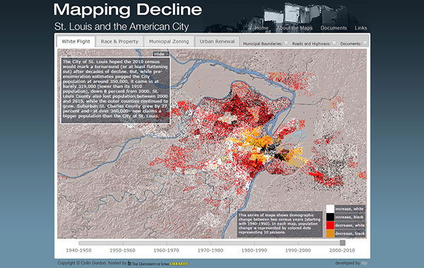 Data visualizations for Mapping Decline St. Louis and the American City website's White Flight tab showing years 2000 - 2010