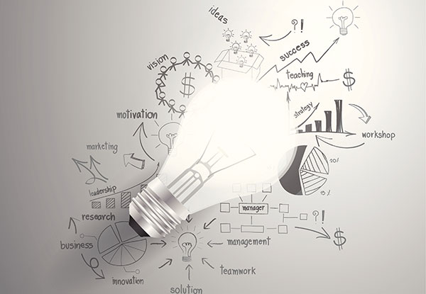 Light bulb with drawing of various business and strategy imagery