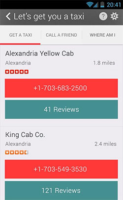 The NHTSA SaferRide app uses the Yelp API to show reviews of nearby taxi cab services.