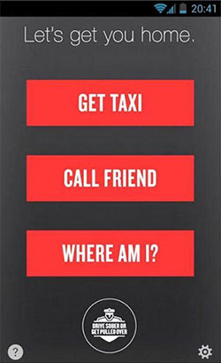 Screenshot of the NHTSA Safer Ride app's home screen with 3 large red buttons; Get Taxi, Call Friend, and Where Am I.