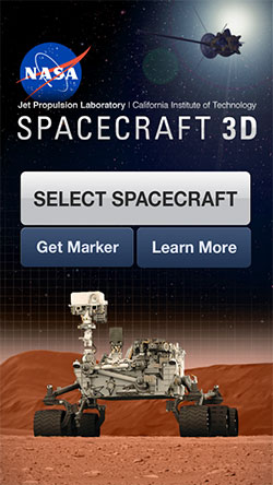 NASA's Spacecraft 3D Android app home screen