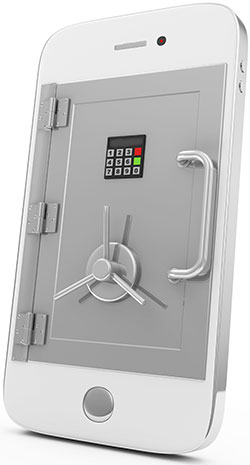 Mobile Security and Protection Concept Smartphone with Safe Door