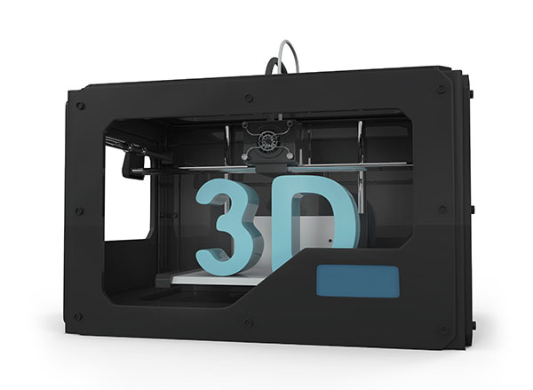 3D Printer in Action isolated on white