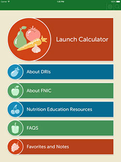 USDA DRI Calculator for Healthcare Professionals iPad app menu