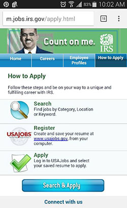 IRSgov's mobile jobs site How to Apply page.