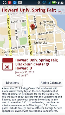 Screen shot of a Job Fair notice on the DOS Careers Android app