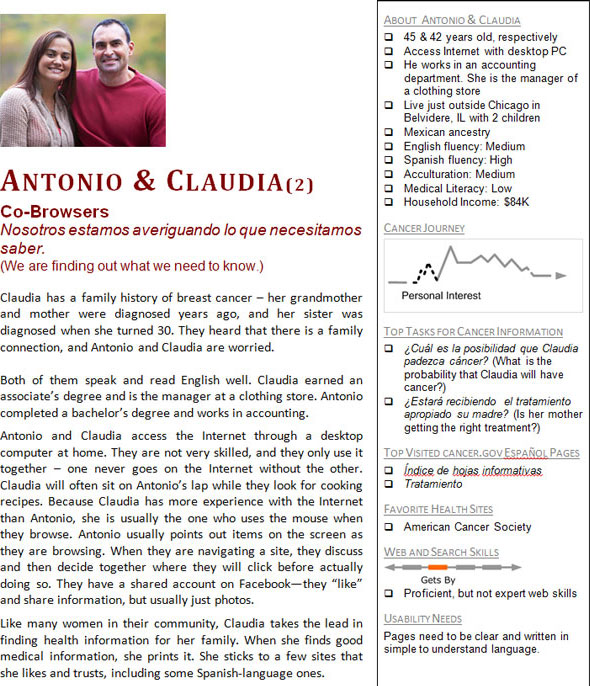 590 x 686 NCI Spanish Language Personas Inform the Development of Healthcare Websites pdf Antonio and Claudia 2