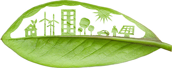Green futuristic city living concept