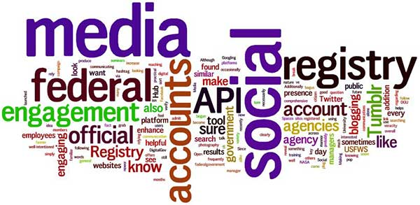 Social Media federal registry engagement word cloud